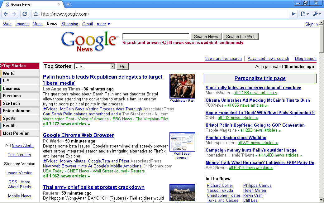 Reading the news with Google Chrome
