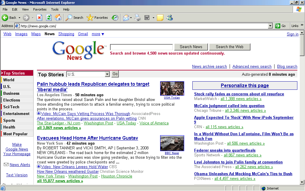Reading the news with Internet Explorer