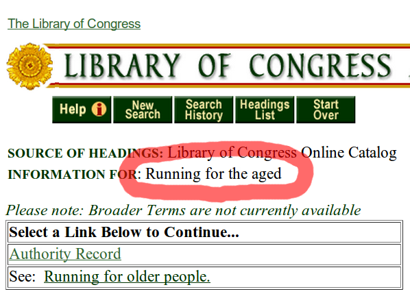"""""""Running for the Aged"""" subject heading"""