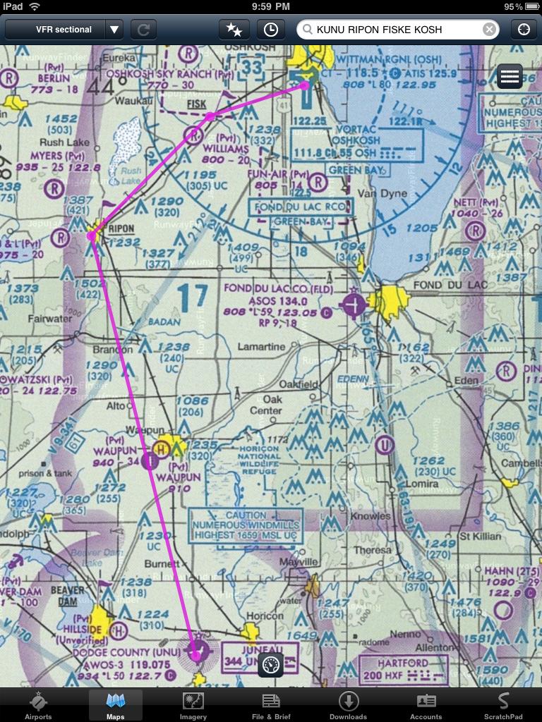 Route from Juneua to Oshkosh