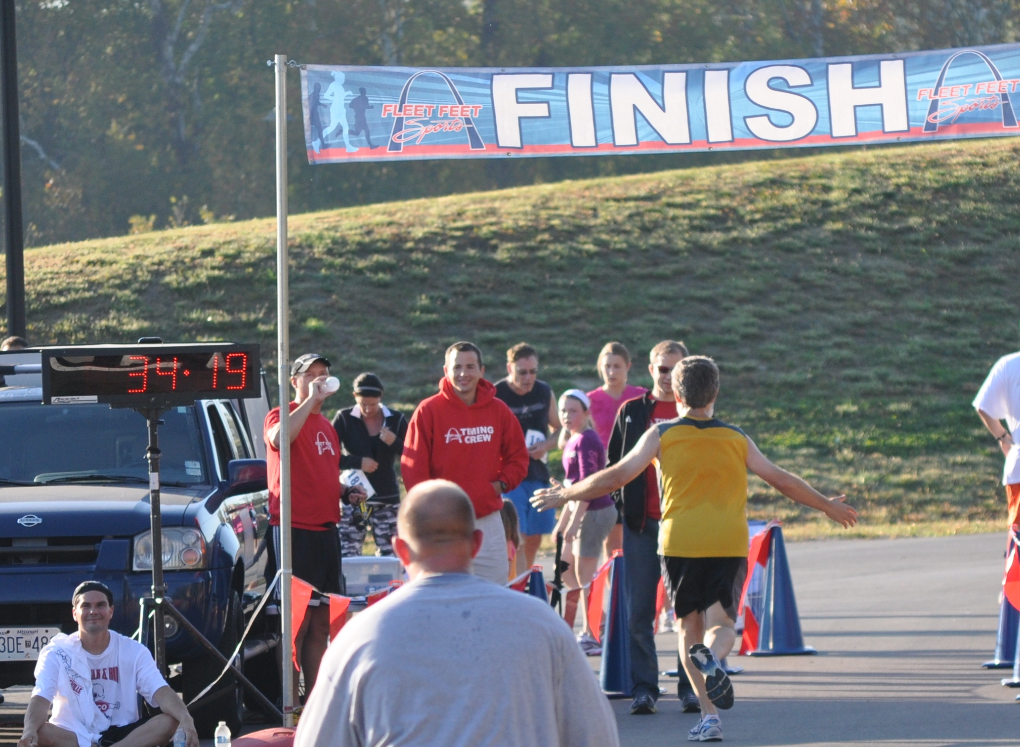 Finishing the 2010 Cottleville Fall Run 5K