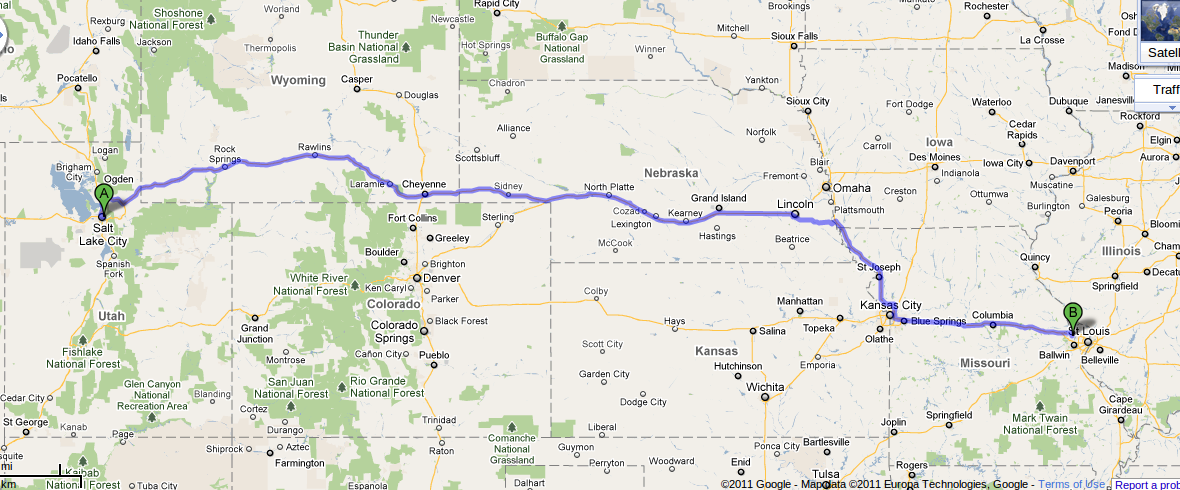 Map of route from Salt Lake City to St. Charles, MO