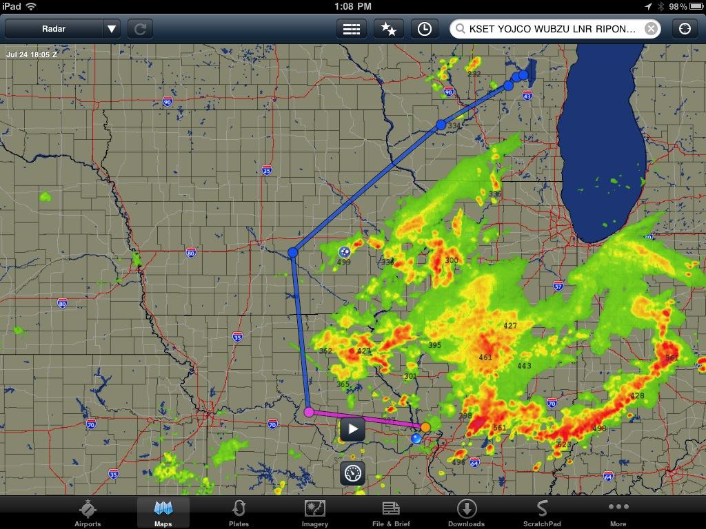 Planned flight path around weather
