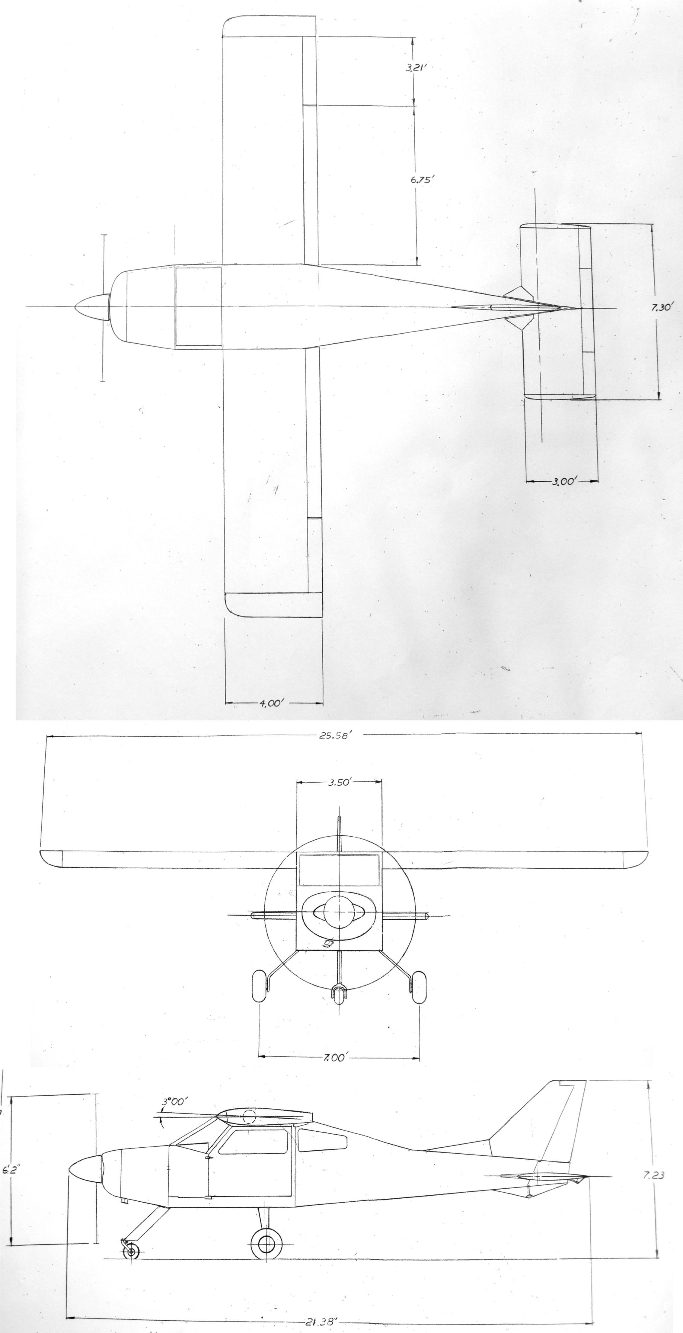 Bede BD-4 3-View Diagram