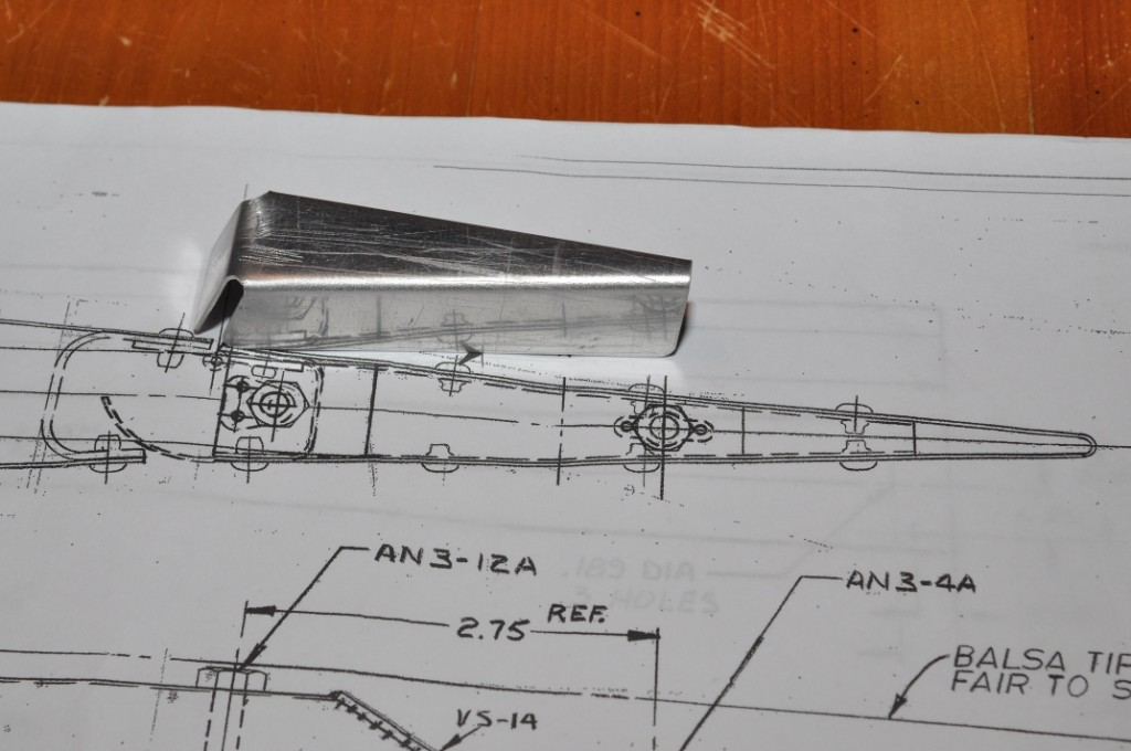 Rudder rib on drawing of top of rudder