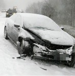 car crash in snow