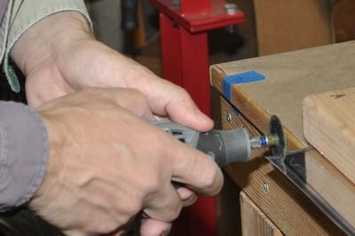 Cutting sheet metal with a cut-off wheel in a Dremel