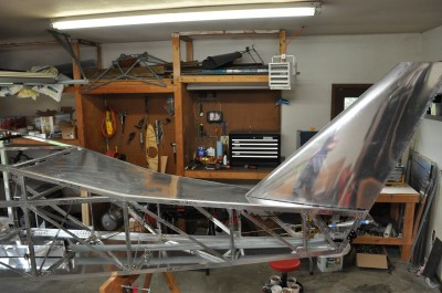 Bede BD-4C with top fuselage skin and vertical stabilizer attached.