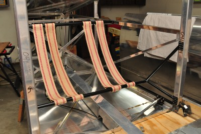 Upholstery webbing straps make up the back seat of my Bede BD-4C airplane