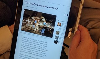 Reading the New York Times on my Asus Chromebook Flip in tablet mode