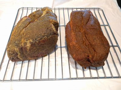 Two chuck roasts, ready for smoking