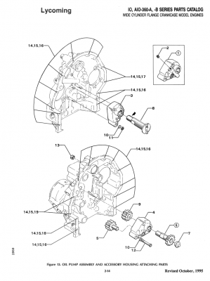 Exploded view of Lycoming oil pump
