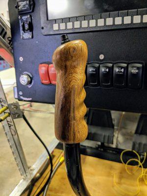 Teak wood control stick grip