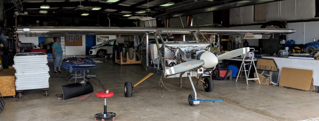 Bede BD-4C with wings (mostly) installed