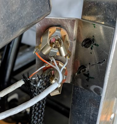 Rear view of aviation headset jacks