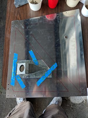 BD-4C fuselage skin with NACA scoop for fresh air vent