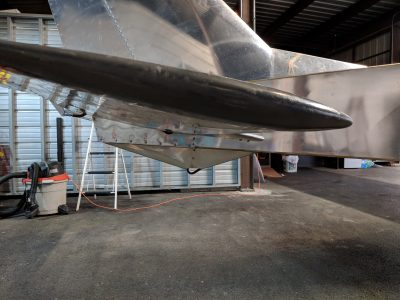 Ventral fin covering the Bede BD-4C tail skid