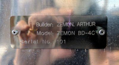 Builder: Zemon, Arthur. Model: Zemon BD-4C. Serial number: 101