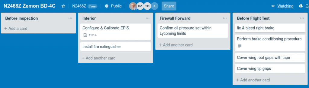 Trello project management board with empty Before Inspection column